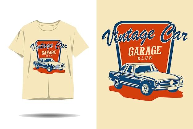 Design de camiseta com silhueta de clube de garagem de carros antigos
