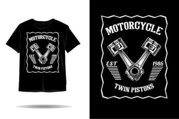 Design de camiseta com silhueta de dois pistões para motocicleta