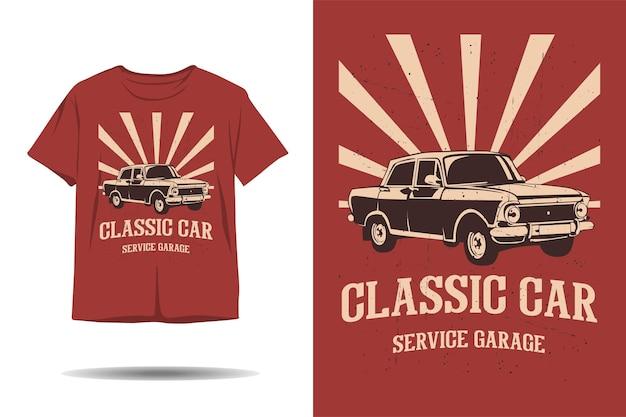 Design de camiseta com silhueta de garagem de serviço de carro clássico