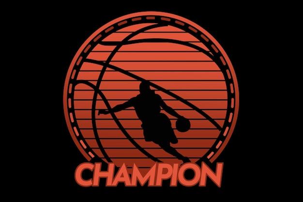 Design de camiseta com silhueta de jogador de basquete campeão em estilo vintage