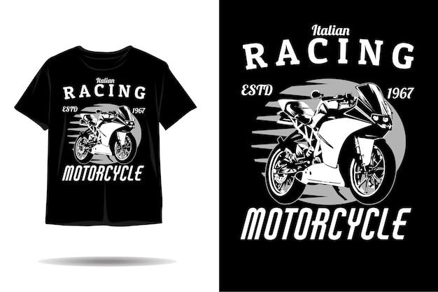 Design de camiseta com silhueta de motocicleta de corrida italiana