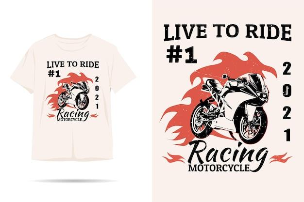 Design de camiseta com silhueta de motocicleta de corrida