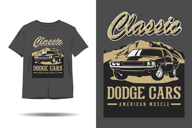 Design de camiseta com silhueta de músculo americano dodge cara