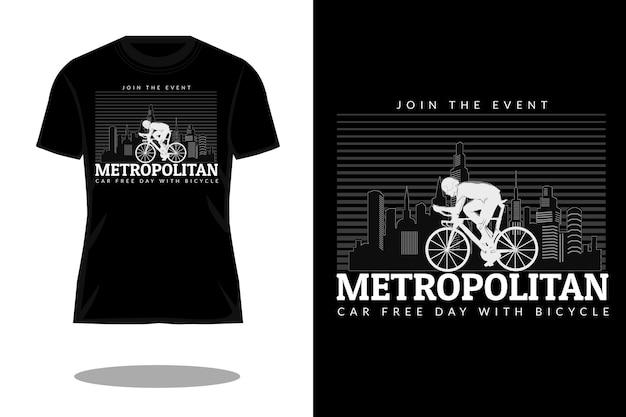 Design de camiseta com silhueta metropolitana para o dia sem carro