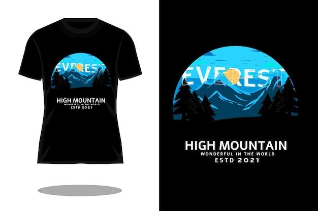 Design de camiseta com silhueta retrô de alta montanha
