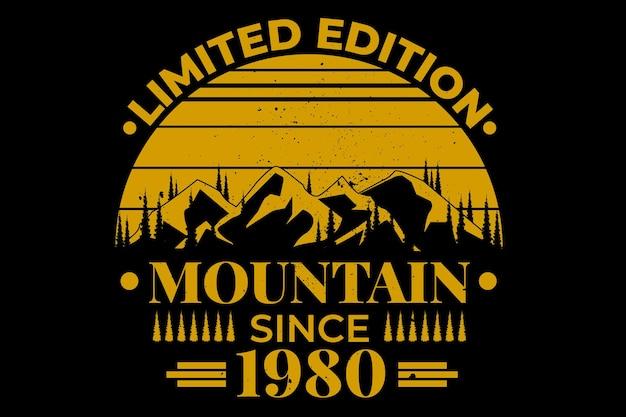Design de camiseta com silhueta vintage pinheiro da montanha