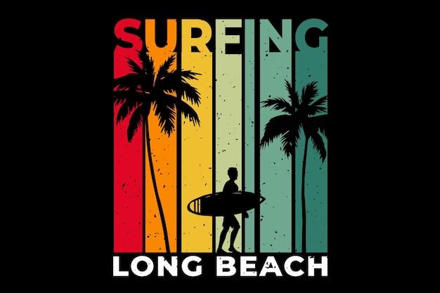 Design de camiseta com surfe na praia de long beach em estilo retro