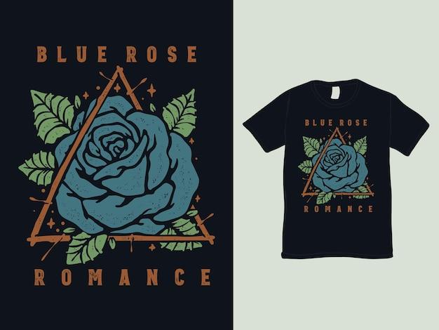 Design de camiseta com tatuagem vintage rosa azul Vetor Premium