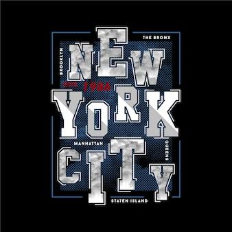 Design de camiseta com texto em nova york
