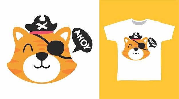 Design de camiseta com tigre de piratas fofos