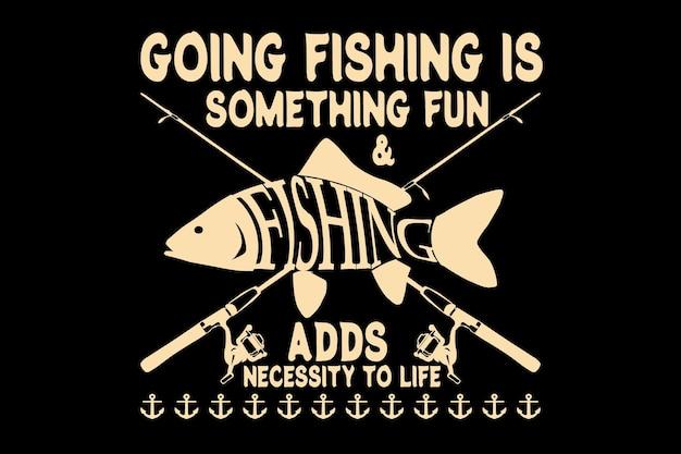 Design de camiseta com tipografia de cana de pesca no estilo vintage