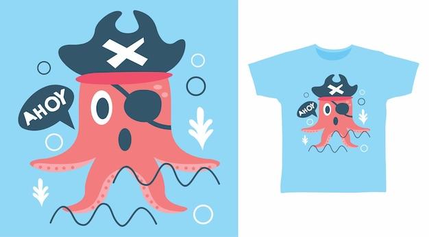 Design de camiseta com tipografia de pirata e polvo fofo