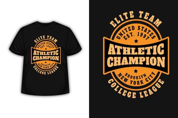 Design de camiseta com tipografia equipe de elite do estado unida em laranja e creme