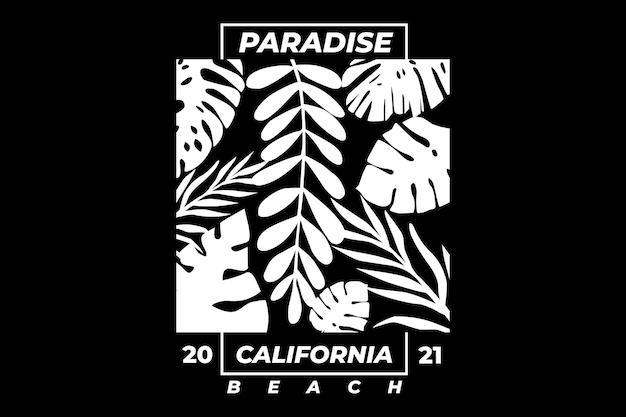 Design de camiseta com tipografia estilo vintage paraíso praia da califórnia