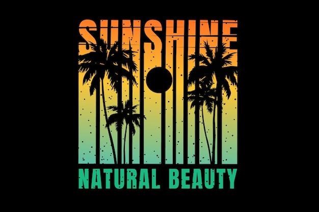 Design de camiseta com tipografia silhueta luz do sol beleza natural em estilo retro