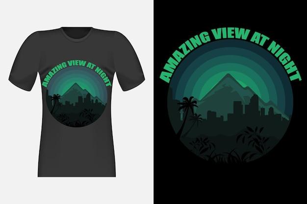 Design de camiseta com uma vista incrível à noite retro vintage
