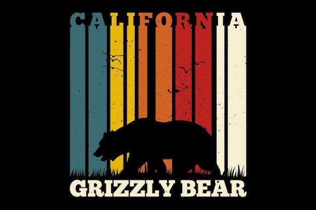 Design de camiseta com urso californiano em estilo retro vintage