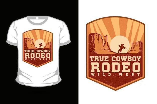 Design de camiseta com verdadeira silhueta de cowboy