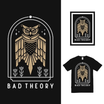 Design de camiseta da coruja voadora