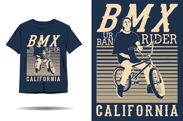 Design de camiseta da silhueta da califórnia para ciclistas urbanos