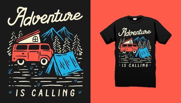 Design de camiseta de aventura na montanha