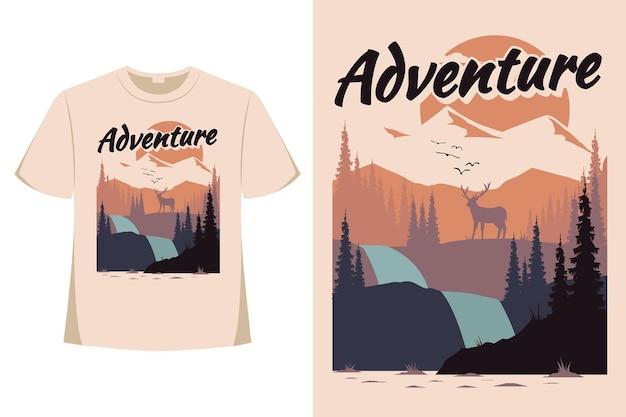 Design de camiseta de aventura veado pinheiro montanha plana natureza estilo retro ilustração vintage Vetor Premium