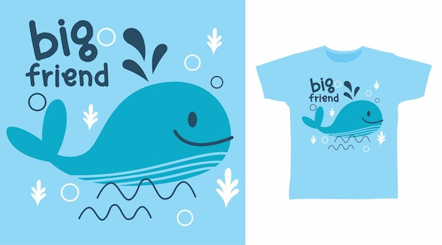 Design de camiseta de baleia fofa