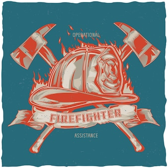Design de camiseta de bombeiro com ilustração de capacete com machados cruzados