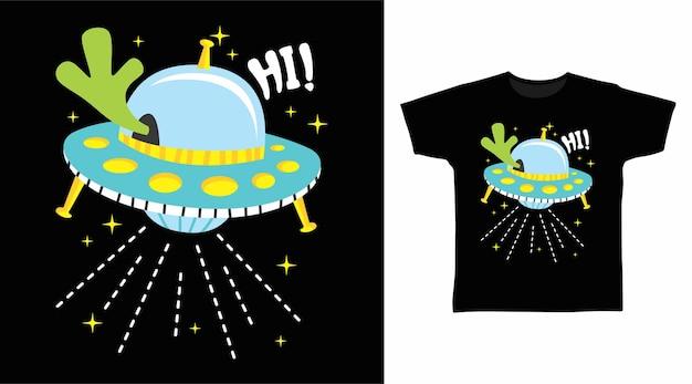 Design de camiseta de desenho animado de ovni alienígena