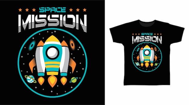 Design de camiseta de foguete para missão espacial