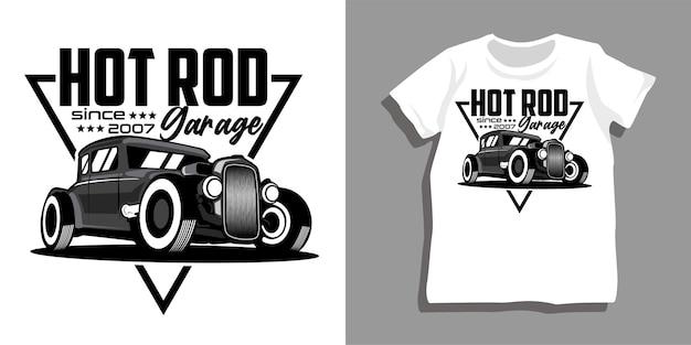 Design de camiseta de garagem para carros hot rod