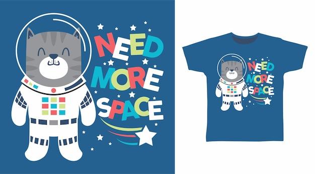 Design de camiseta de gato astronauta fofo