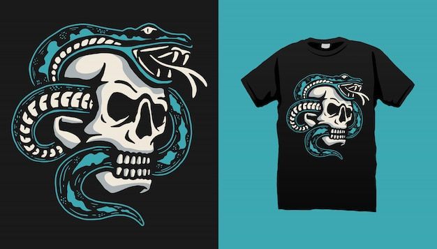 Design de camiseta de ilustração de cobra e crânio