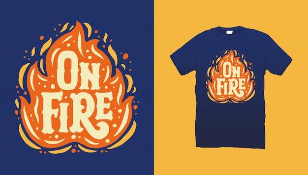 Design de camiseta de ilustração de fogo
