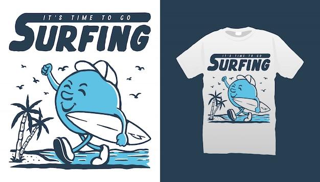Design de camiseta de ilustração de mascote de surf