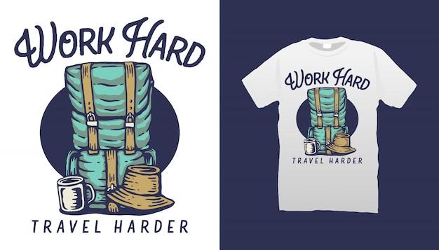 Design de camiseta de ilustração de mochila