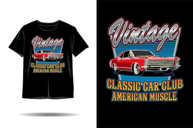 Design de camiseta de ilustração de músculo americano de clube de carro clássico vintage