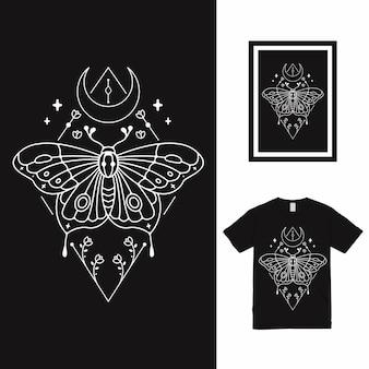 Design de camiseta de linha arte t da borboleta escura