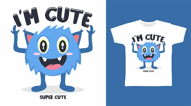 Design de camiseta de monstro fofo