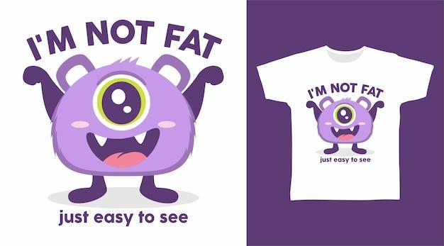 Design de camiseta de monstro gordo roxo