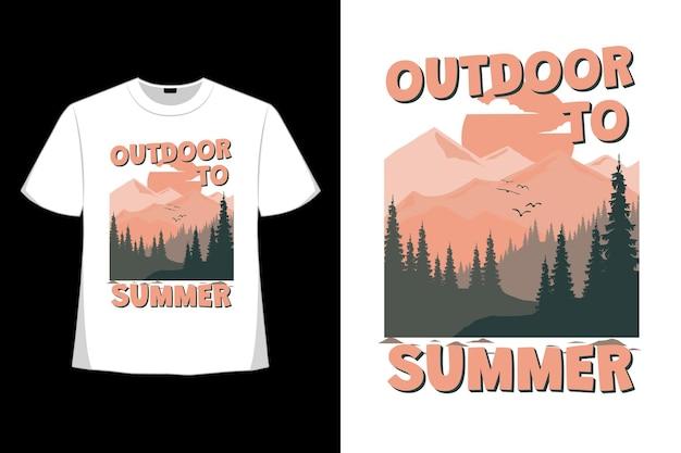 Design de camiseta de montanha com paisagem de verão ao ar livre em estilo retro