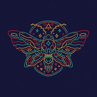 Design de camiseta de néon monoline com caveira borboleta mariposa