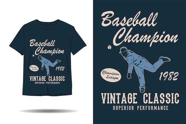 Design de camiseta de silhueta clássica vintage campeã de beisebol
