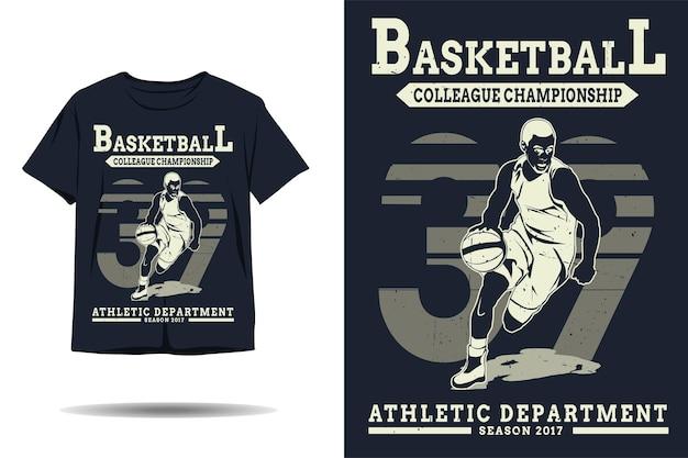 Design de camiseta de silhueta de colega de basquete campeonato departamento atlético