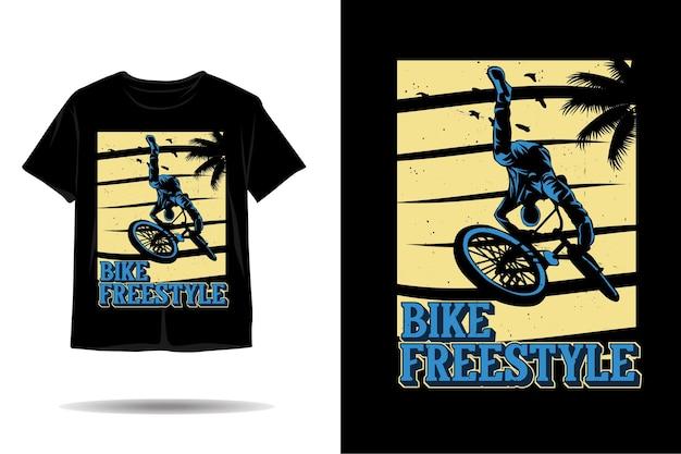 Design de camiseta de silhueta de estilo livre para bicicleta