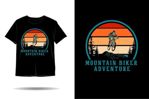 Design de camiseta de silhueta de mountain bike para aventura