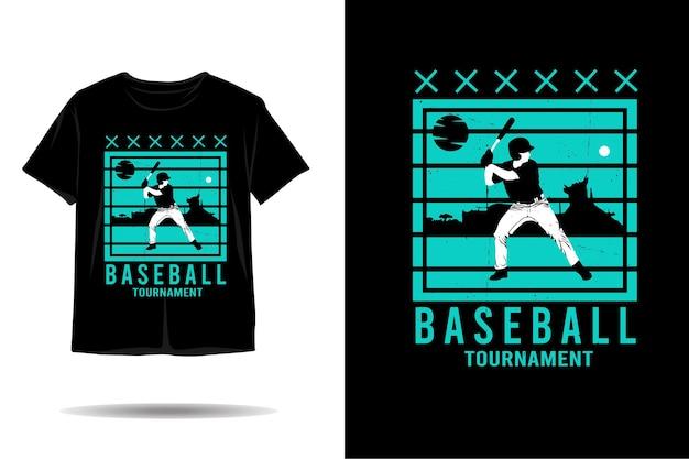 Design de camiseta de silhueta de torneio de beisebol
