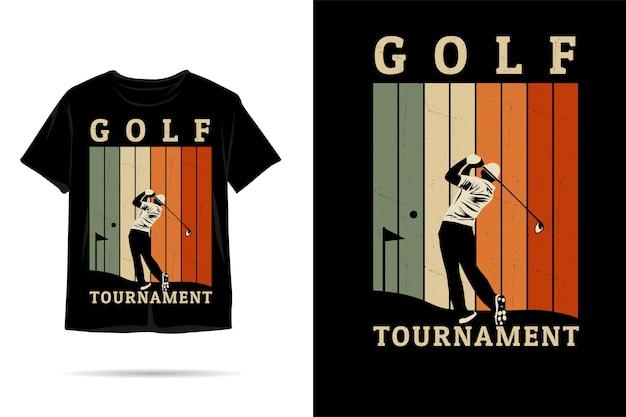 Design de camiseta de silhueta de torneio de golfe