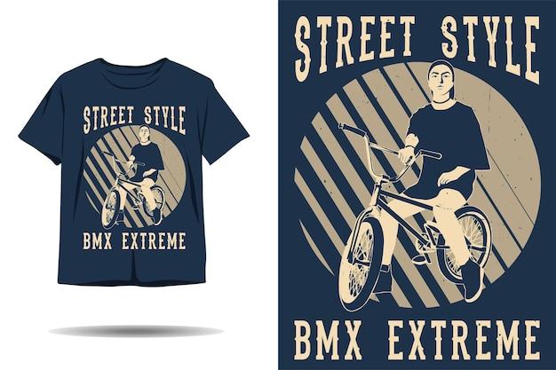 Design de camiseta de silhueta extrema para bicicleta em estilo de rua