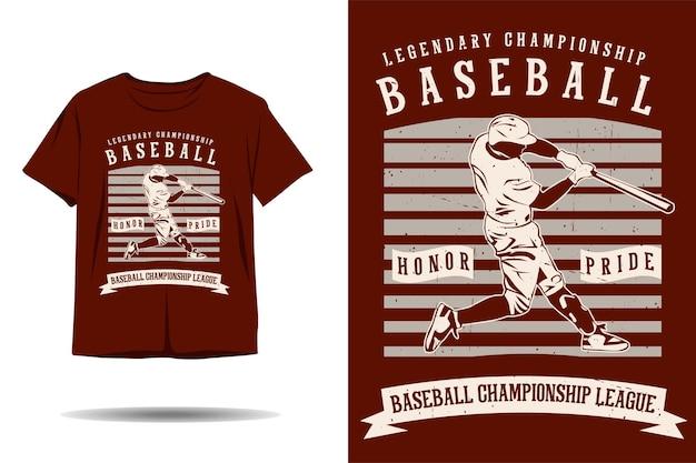 Design de camiseta de silhueta para campeonato de beisebol